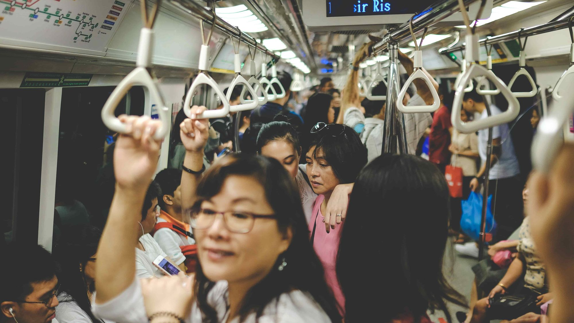 People crowding in a public transportation