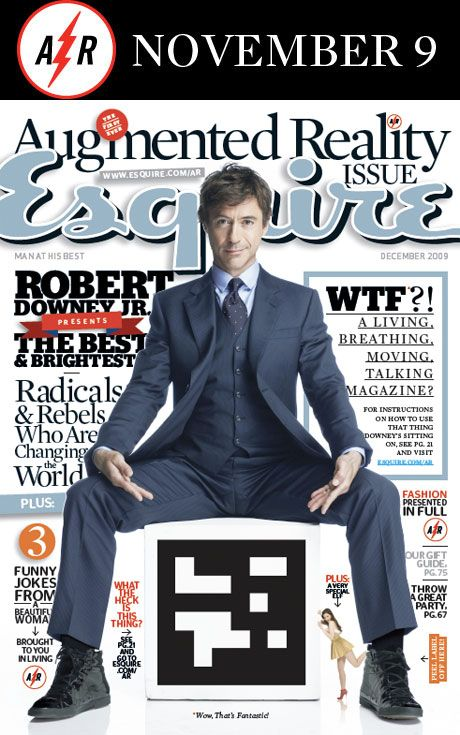 Robert Downey Jr. as a cover on Esquire magazine's augmented reality issue