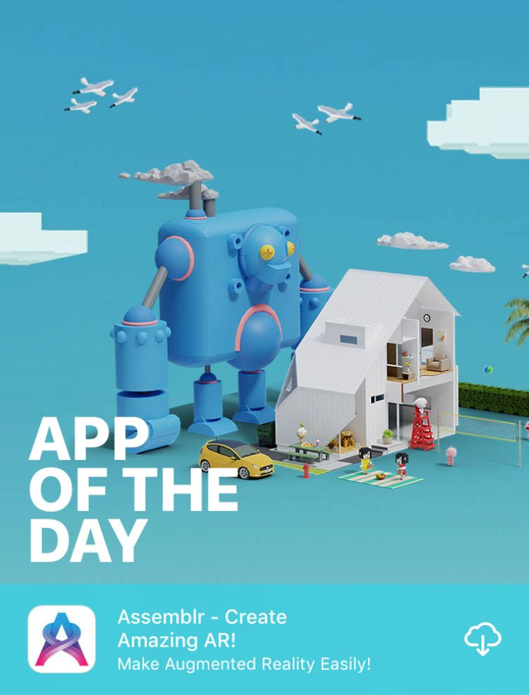 Assemblr featured in App of the Day App Store worldwide