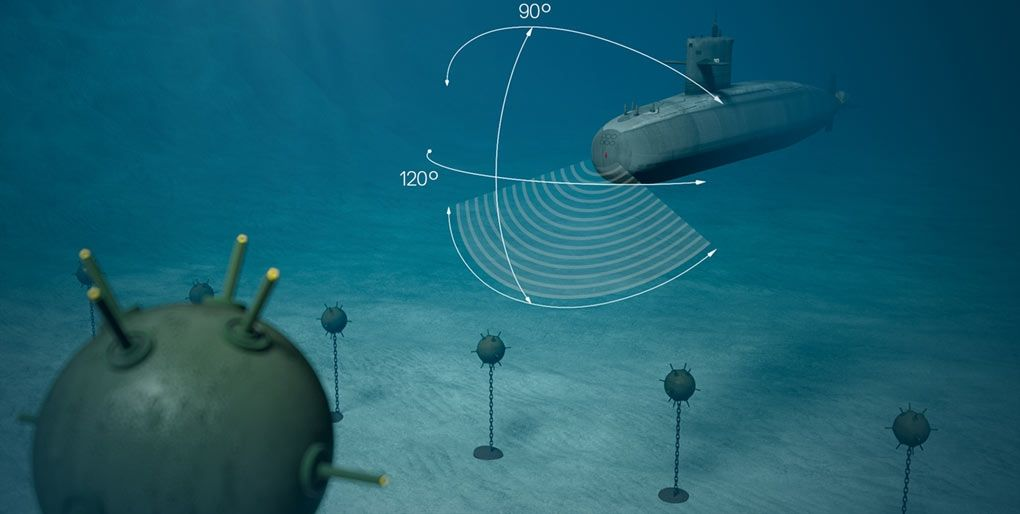 The visualization of how the sonar system works under the water