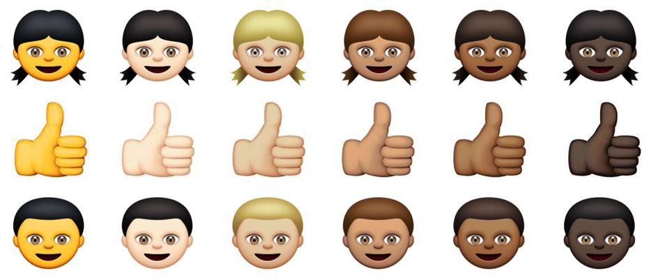 Example of emoji with five different skin tones.