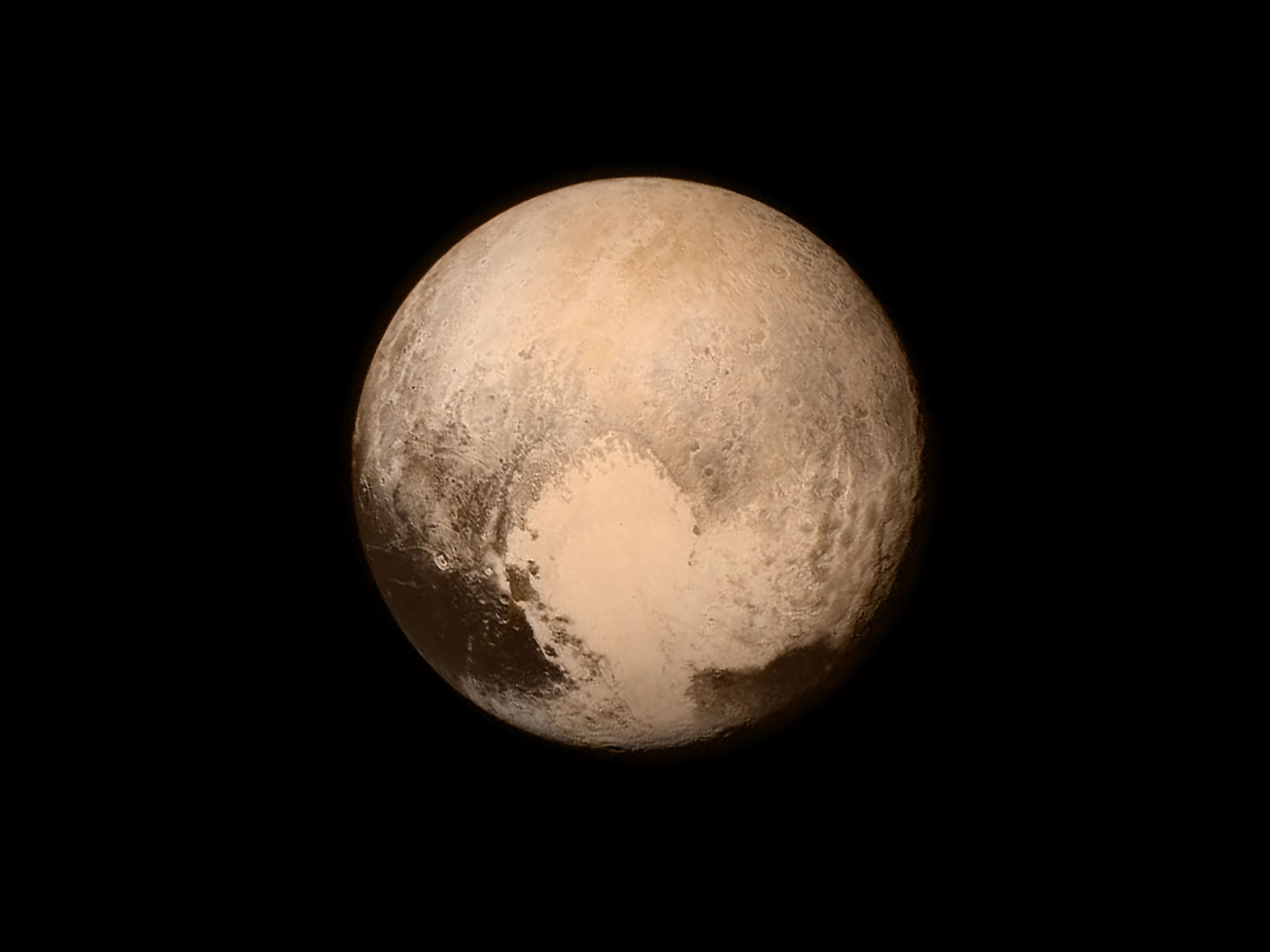 The planet Pluto captured in 2015 from the New Horizons spacecraft.