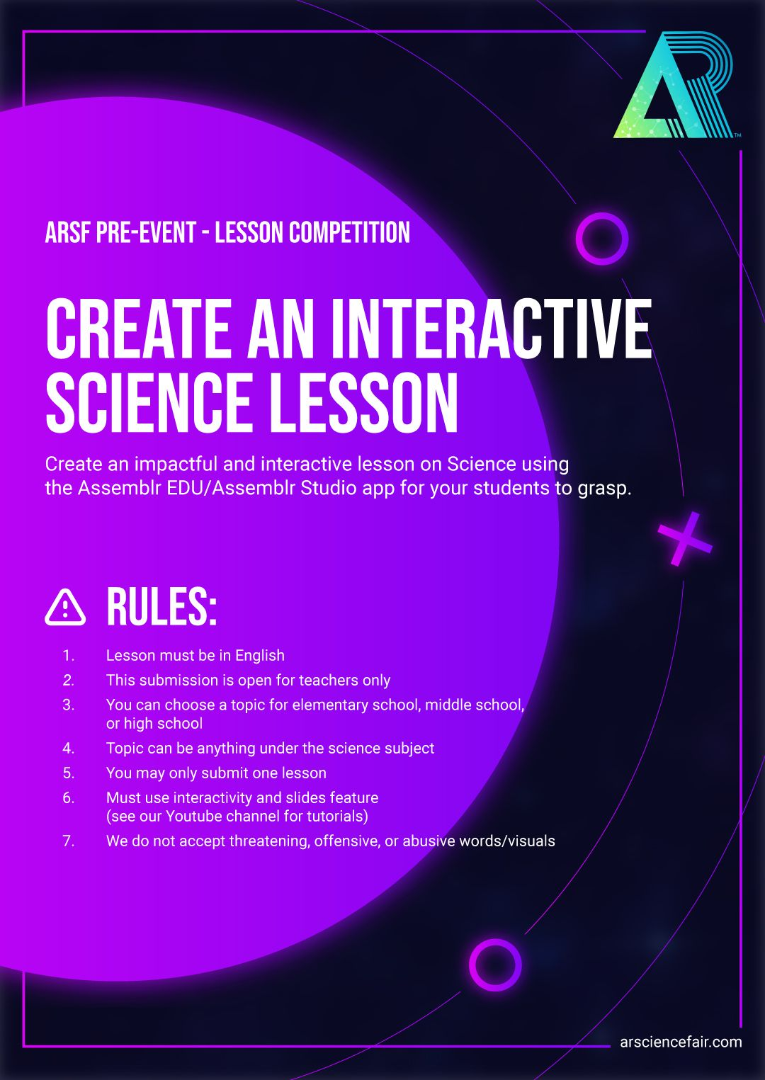 Augmented Reality Science Fair (ARSF) Pre-Event Challenge for teachers.