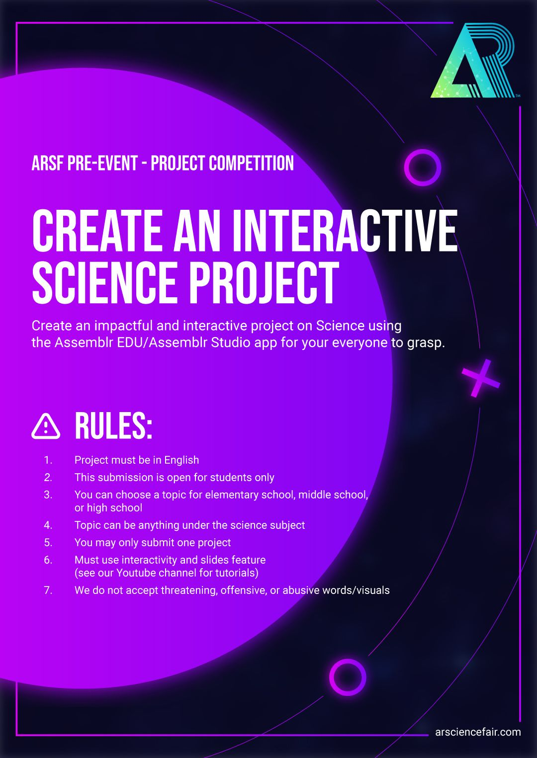 Augmented Reality Science Fair (ARSF) Pre-Event Challenge for students.