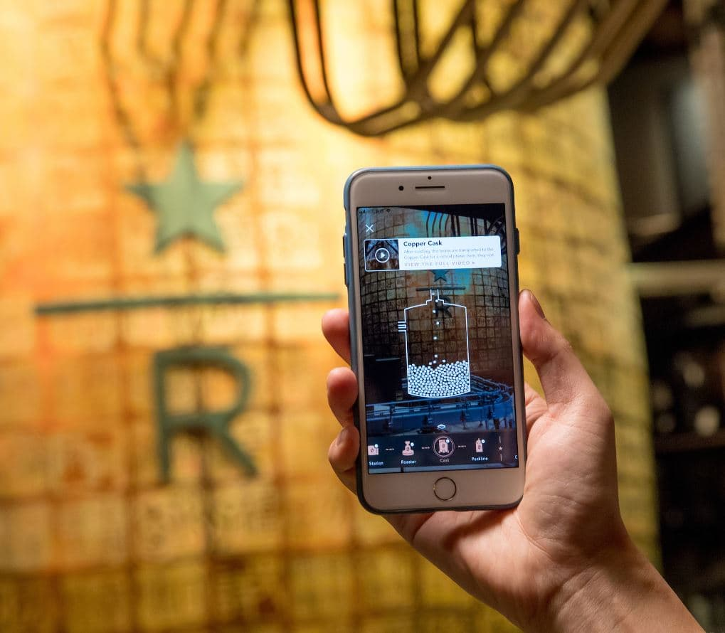 Augmented reality (AR) tour in Starbucks Reserve, Shanghai.