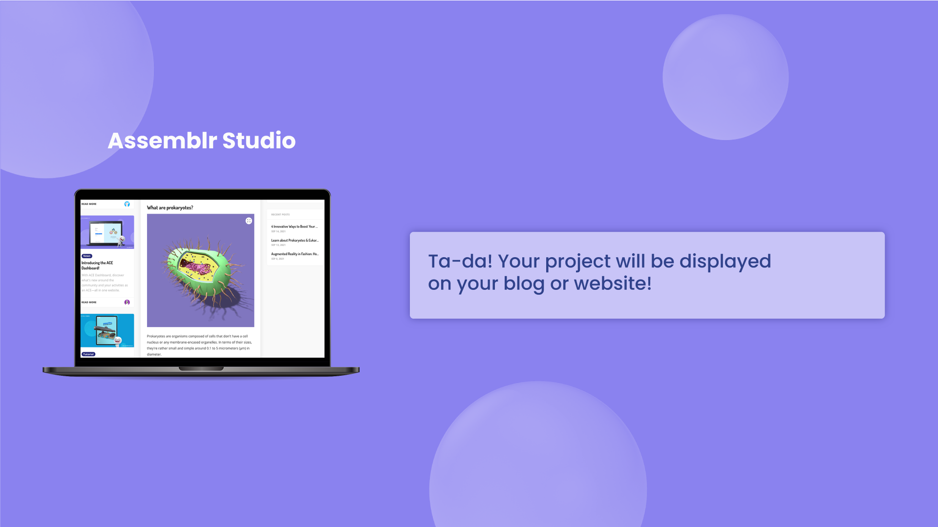 Embed 3D project into your blog post.
